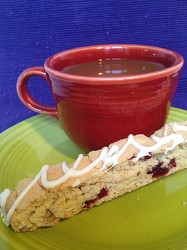 Cranberry Orange Toasted Pecan Biscotti drizzled with White Chocolate - 6pk